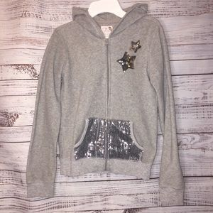 ✨3 for 15✨Childrens Place sequin stars hoodie gray